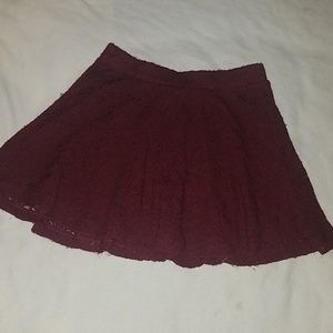 Burgundy A-line mini skirt lace with lining